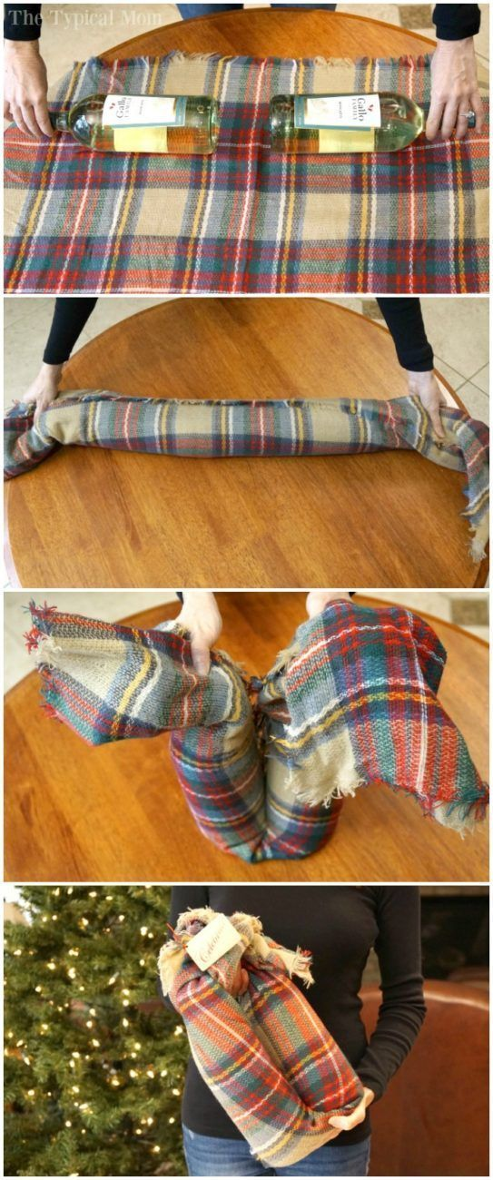 How to gift wine bottles in a scarf, I use this all the time!! Step by step of how to wrap wine bottles in a scarf to create a unique gift. AD