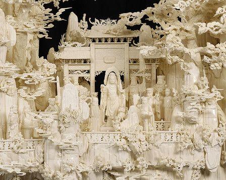 Fine Art, Asian Art, Chinese Carved Bone Mountain Sculpture ~ M.S. Rau Antiques