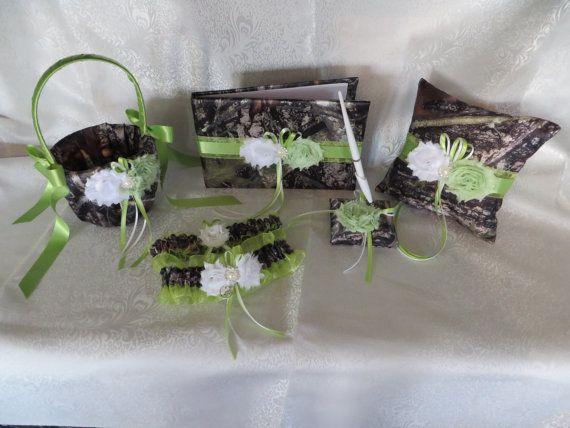 Camo Wedding Set, Wedding Flower Girl Basket, Wedding Pillow, Wedding Guest Book, Pen and Wedding Garter, True Timber Green Camo Wedding Set by TheMomentWeddingBout on Etsy