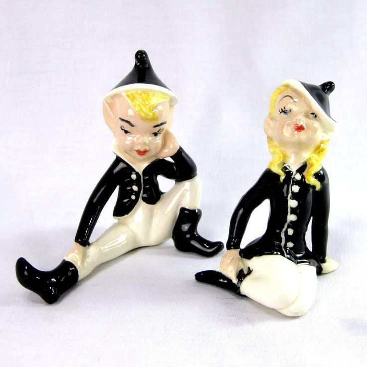 Vintage Ceramic Christmas Carolers Choir Boy And Girl: Vintage Pixie Elves Holland Mold Boy And Girl Ceramic