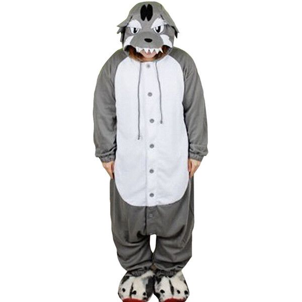 gray cute wolf flannel womens jumpsuit pajamas costume 26 liked on polyvore featuring - Halloween Costumes Wolf