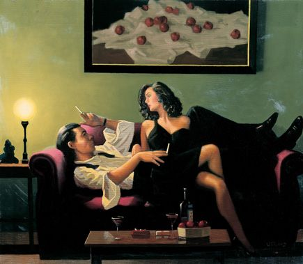 Jack Vettriano:  After Midnight (Study) -   Oil on canvas  16 x 18 inches