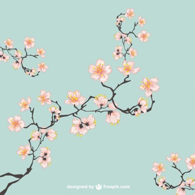Cerezos en flor ilustración Vector Gratis