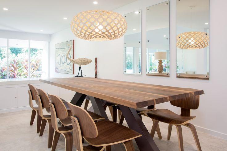BONALDO'S 'BIG TABLE' , DAVID TRUBRIDGE PENDANT LIGHTING AND ISLAND POINT INTERIORS BESPOKE TRIPTYCH OF MIRRORS
