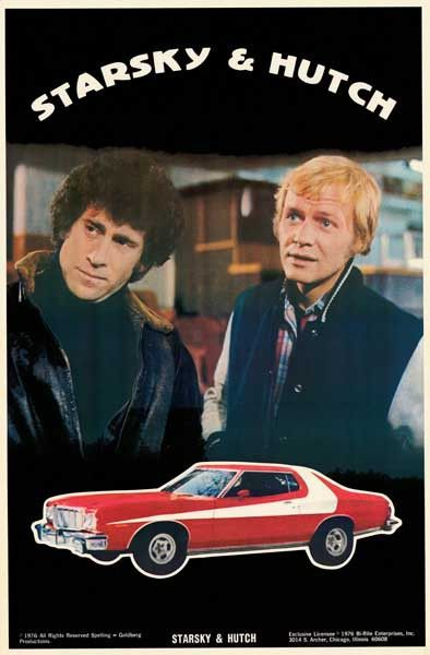 """A great Starsky and Hutch TV show poster! Includes the """"Striped Tomato"""", their 1974 Ford Gran Torino. An original published in 1976. Ships fast. 23x35 inches. Need Poster Mounts..? bm852"""