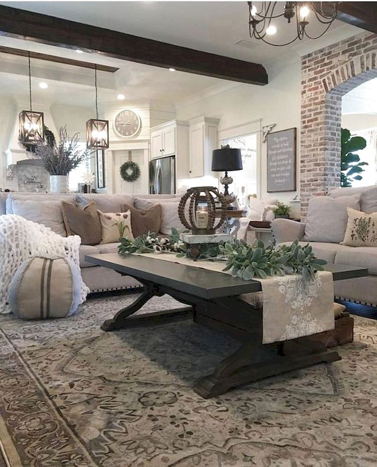 100 Beautiful Farmhouse Living Room Decor Ideas #FarmhouseLivingRoom #LivingRoomDecor