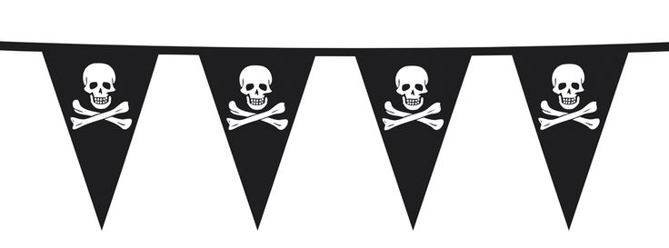 Pirat vimpel guirlande som er super flot som festpynt til pirat fest.
