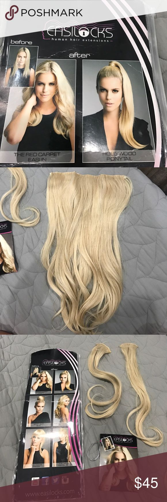 Ash blond hair extensions Easilocks Ash blond, clip in, 18 inch hair extensions. Synthetic hair. Worn once, hair color does not match mine. Make an offer, you never know! ☺️ Accessories