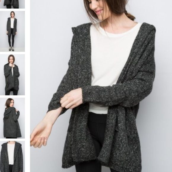 Brandy Melville cardigan Dark grey cardigan with hood and front pockets Brandy Melville Sweaters Cardigans