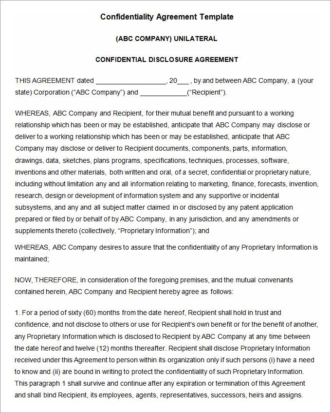 Confidentiality Agreement Template Word Non Disclosure Agreement - non disclosure agreement word document