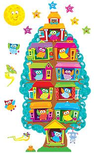 "Owl-Stars!™ Job Chart  Bulletin Board Set    T-8360 Organization by owls! Let the energetic, patchwork birds perch in their expandable tree house that can serve as a Job Chart, Student of the Week award tracker, Our Classroom display, and more! Give each birdhouse a label depending on the project. Students think this set is quite a hoot! Includes 54 pieces: 3-piece tree, 36 owls, and 15 accents. Tree expands from 17"" tall using just the base or top to 46"" tall with all three pieces."