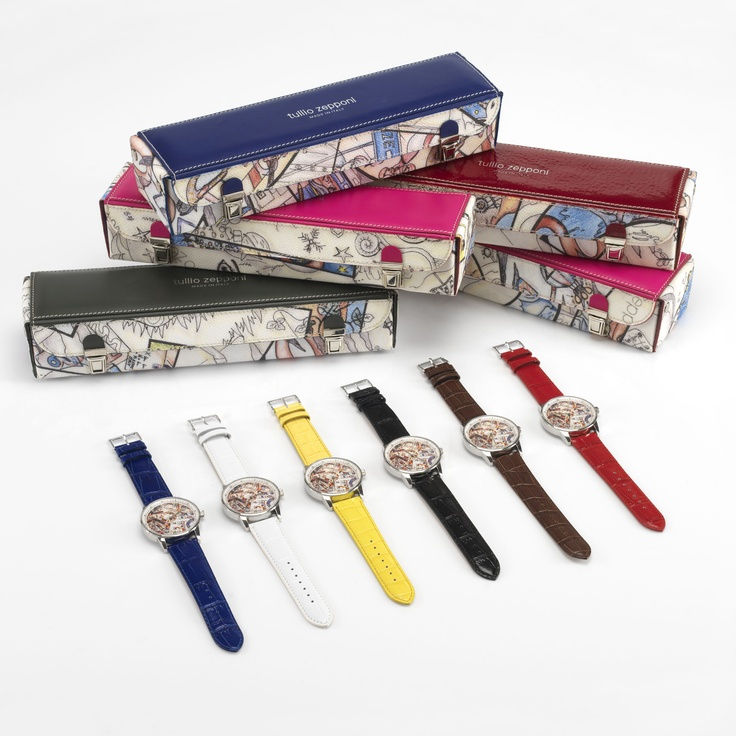 Tullio Zepponi watches in 6 different colors for summer: blue, white, yellow, black, brown, red.