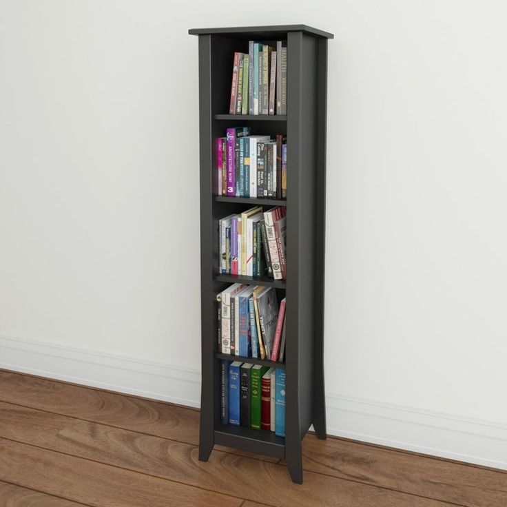 Megalak Finition Tuxedo 60 In Slim Bookcase Black 200206