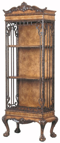 AHC OLD WORLD Intrigue Bookcase / Curio Shelf Display Case Antique Reproduction in mixed-media. Traditional Old French.