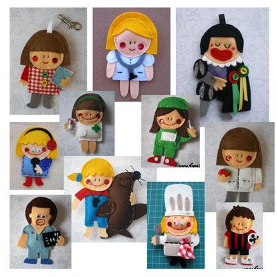 how cute are these different profession felt dolls? Make them yourself!