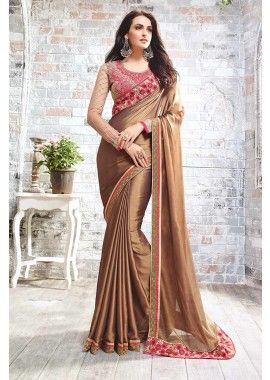 Light Brown Two Tone Smart Chiffon Saree, - £130.00, #IndianDresses #FashionUK #DesignerSaree #Shopkund