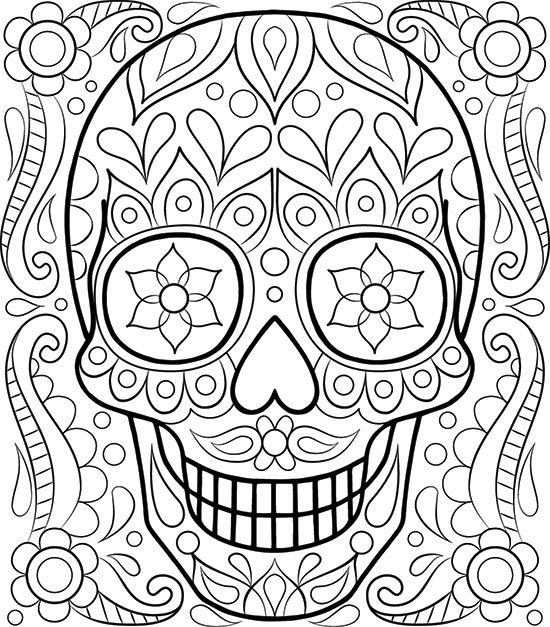 free sugar skull coloring page by thaneeya mcardle adult coloring book pagesprintable