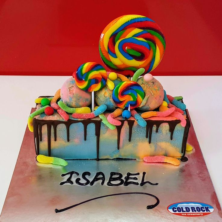 the #candyman visited us with #lollypops for our #rainbow ice cream cake:-) order online here