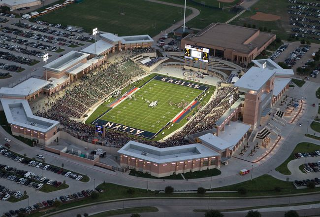 Allen, Texas, a bedroom community in an upscale part of the DFW metroplex, spent about $60 million to build a state of the art football stadium for Allen High School. The facility holds 18,000 spectators, and the first year it was open sold over 8,000 season tickets (for only $40/ticket). The stadium has 42 concession lines and a three level press box.