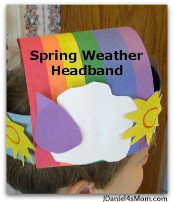 This spring weather headband features a rainbow, rain, clouds, and sunshine. It would fit well into unit on weather, spring, or how to make rainbows. #craft #kids #weather