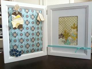 Fotolijstje en prikbord in een. Comfort Cafe papier en stof van Stampin'Up! Zie blog voor meer info.