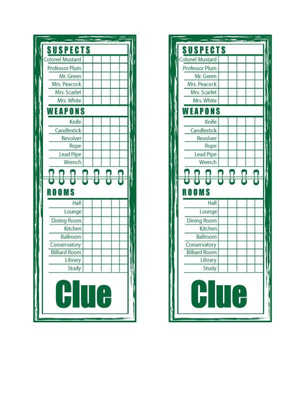 Dashing image intended for clue sheets printable