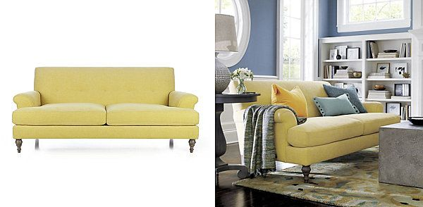Tufted yellow sofa - Decoist