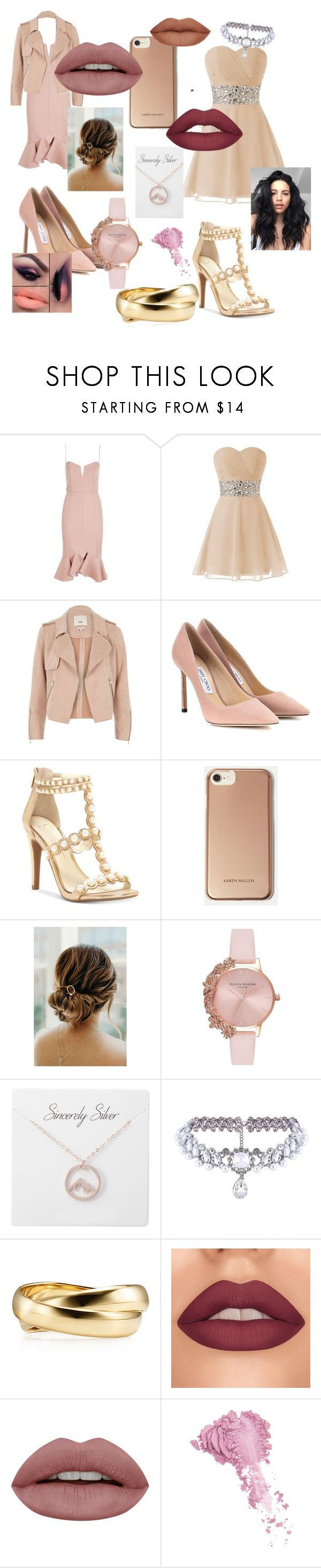 """""""Cocktail party for two besties"""" by hzmwilcox ❤ liked on Polyvore featuring Nicholas, River Island, Jimmy Choo, Jessica Simpson, Karen Millen, Olivia Burton, WithChic and Bésame"""