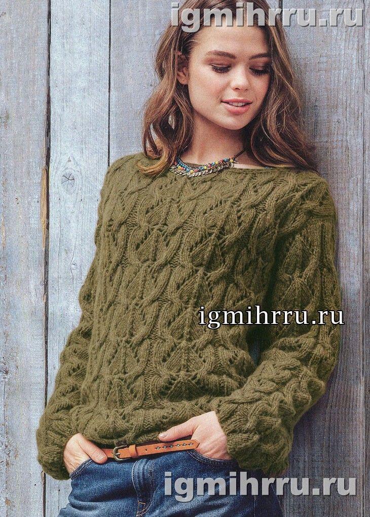 Теплый пуловер цвета хмеля с фантазийным узором. Вязание спицами