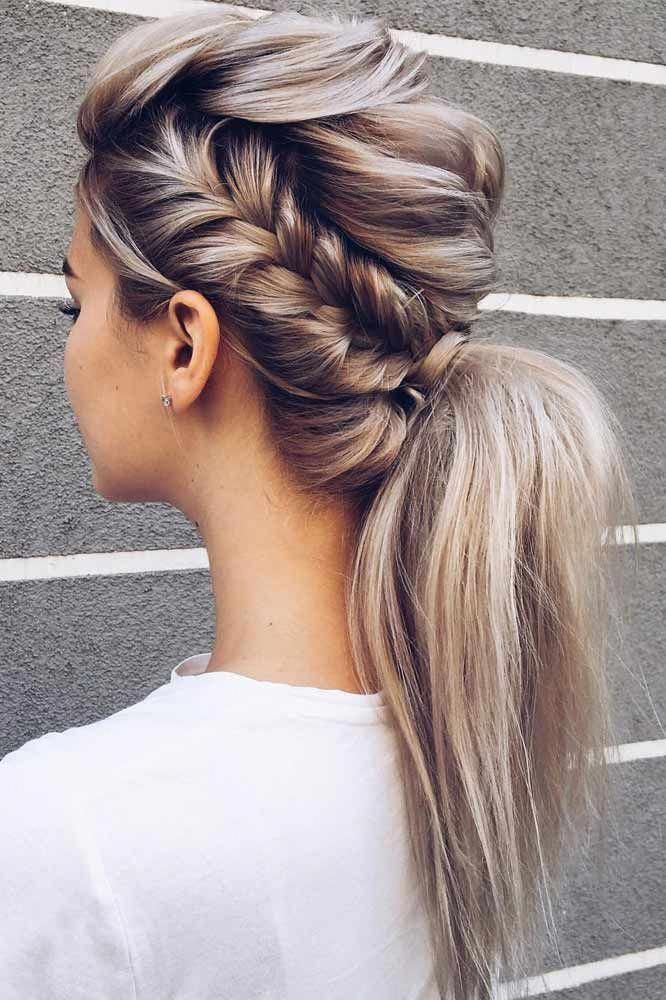 Ponytail Hairstyle For Prom With Side Braid #sidebraid # ...