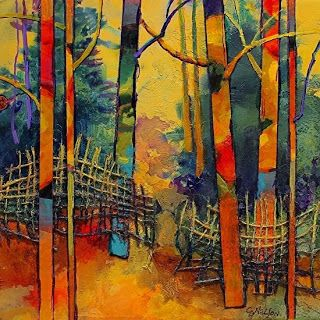"CAROL NELSON FINE ART BLOG: Abstract Mixed Media Landscape Tree Art Painting ""Gateway"" by Colorado Mixed Media Abstract Artist Carol Nelson"