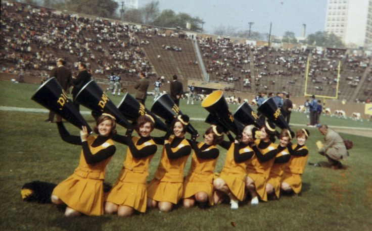 1967         This hand out photo provided by the Steelerettes, shows the NFL's first cheerleading squad, during a 1967 game at Pitt Stadium, where the Steelers then played. The Steelerettes were the first females of the gridiron, long before Seattle's Sea Gals, Oakland's Raiderettes and the Buffalo Jills. But the NFL's first cheerleaders were far from the midriff-bearing dancers that cheer from the sidelines today. (AP Photo/Steelerettes, HO)