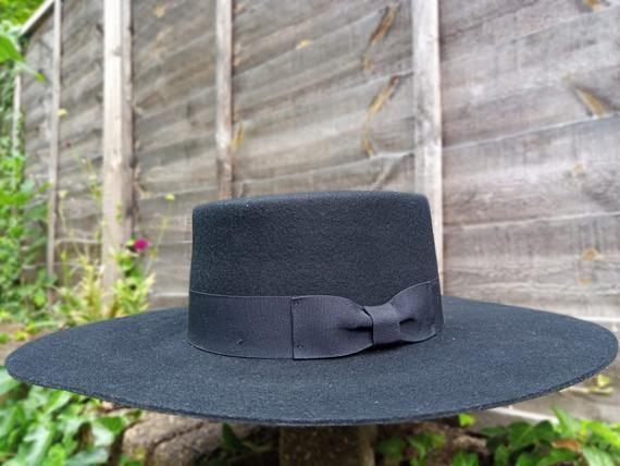 The Bolero Hat Spanish Wide Brim Hat Black Fur Wool Felt Etsy In 2021 Wide Brim Hat Wide Brim Hat Men Brim Hat
