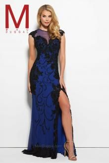 Feel enchanting with the Spring 2016 Mac Duggal Prom Dress Collections.   Blue/Black Prom Dress, Cap Sleeve, High-Slit  Style 1988M