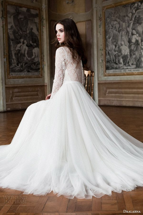 daalarna 2014 bridal long sleeve lace bodice wedding dress back view seated