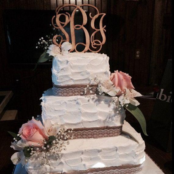 Wedding Cake Topper Rustic Decor By CustomCutMonograms