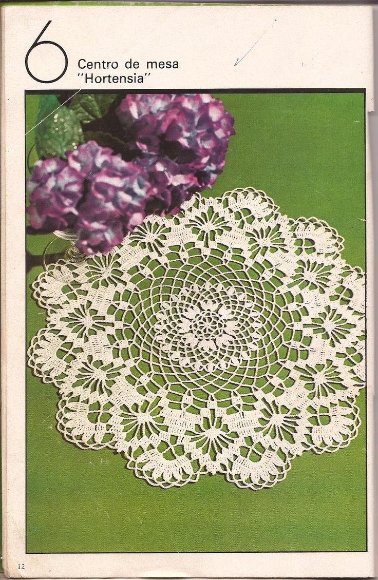 "Centro de mesa ""Hortensia"" y Tapete ""Flor imperial"" | Esquemas"