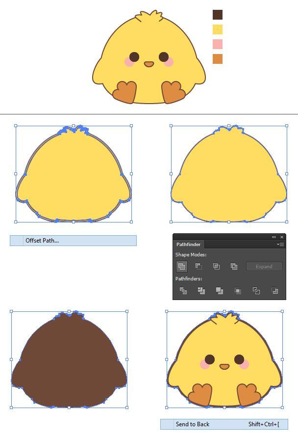Create a Cute Spring Chick in Illustrator colour
