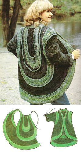 From a book called 'zelf je kleding haken' ('crocheting your own clothing'). A book from the seventies that a friend of mine managed to track down on the internet. There aren't any actual patterns in it, just suggestions. I love it.