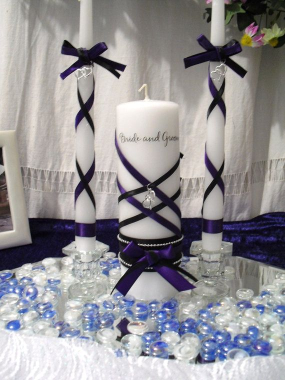 Purple and black unity wedding candle set with heart charms