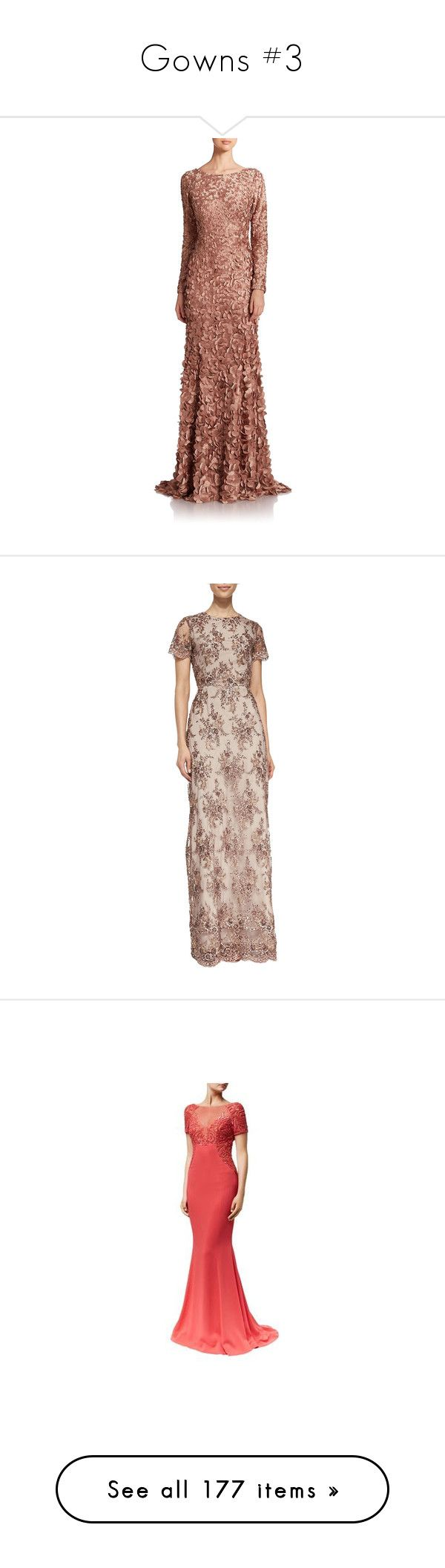 """Gowns #3"" by charlottedebora ❤ liked on Polyvore featuring dresses, gowns, gown, apparel & accessories, tawny, satin evening gown, theia gowns, satin dress, boatneck dress and brown dress"