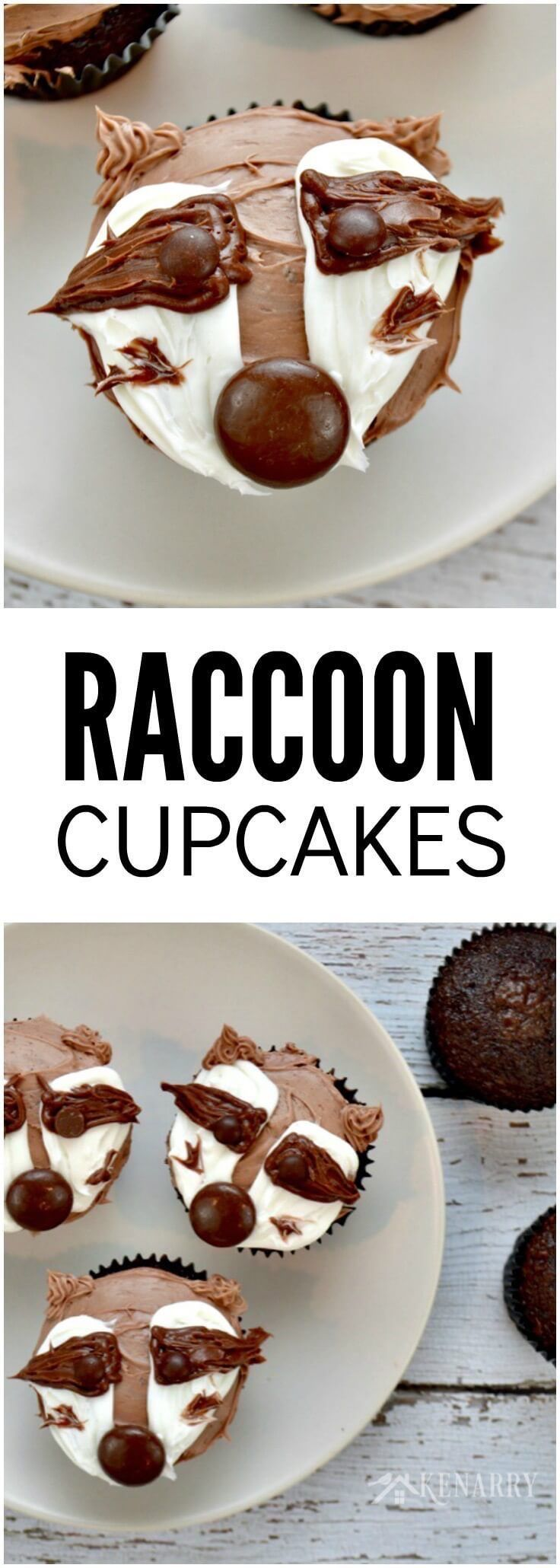 These raccoon cupcakes are SO cute! With this video tutorial, it would be really easy to make these if you need an idea for an animal themed dessert for a birthday party, a kid's treat for school or a cupcake walk prize.