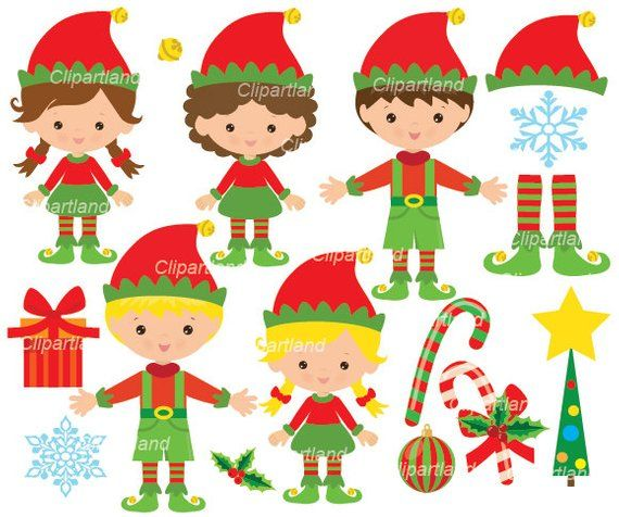 Instant Download Christmas Elves Clip Art Cch 21 Personal Etsy Elves Christmas Elf Printed Birthday