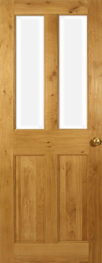 Victorian 4 Flat Panel Half Glazed Solid Oak Door