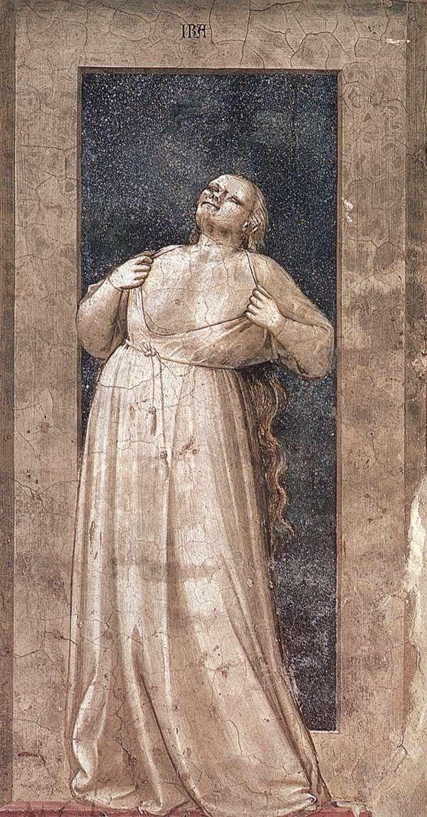 The Seven Vices: Wrath    1306  Fresco, 120 x 55 cm  Cappella Scrovegni (Arena Chapel), Padua  Giotto