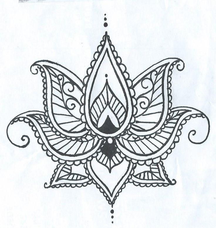 Lotus Temporary Tatto With Paisley Henna Style Petals Hand Drawn Illustration by ashinetoit on Etsy