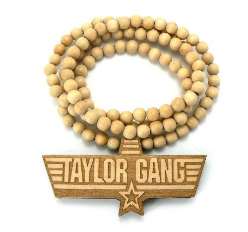 Natural Wooden Taylor Gang Pendant with a 36 Inch Wood Beaded Necklace JOTW. $9.95. 100% Satisfaction Guaranteed!. Great Quality Jewelry!