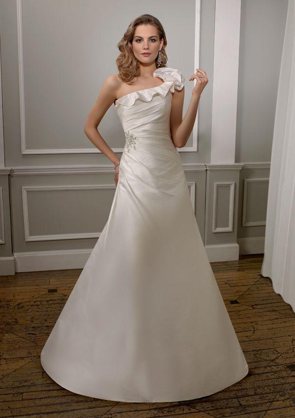 Wedding Dresswedding Dresseswedding Dresses Graceful A Line One Shoulder With Ruffles Zipper Back Dress