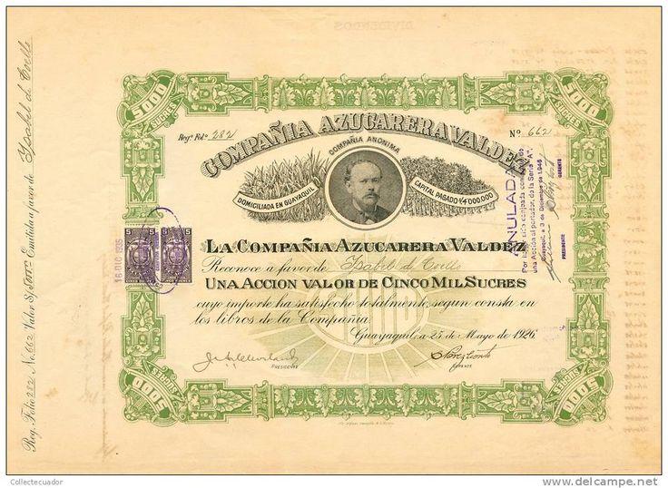 AZP3ECU003 Compaňia Azucarera Valdez 5000 Sucres 1926