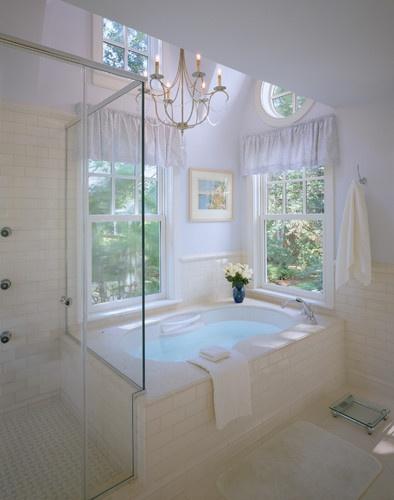beautiful open bathroom with skylight